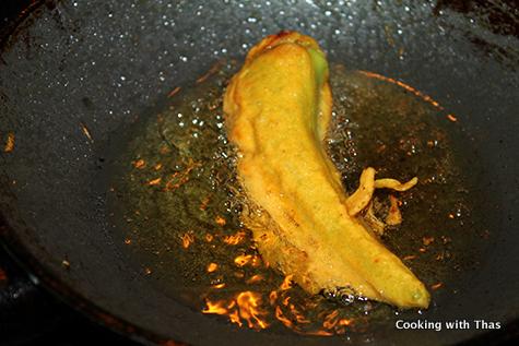 frying chicken stuffed banana peppers
