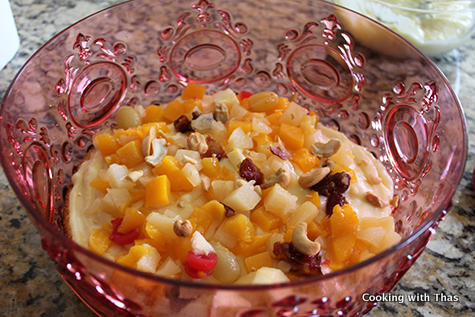 topped with fruits and nuts
