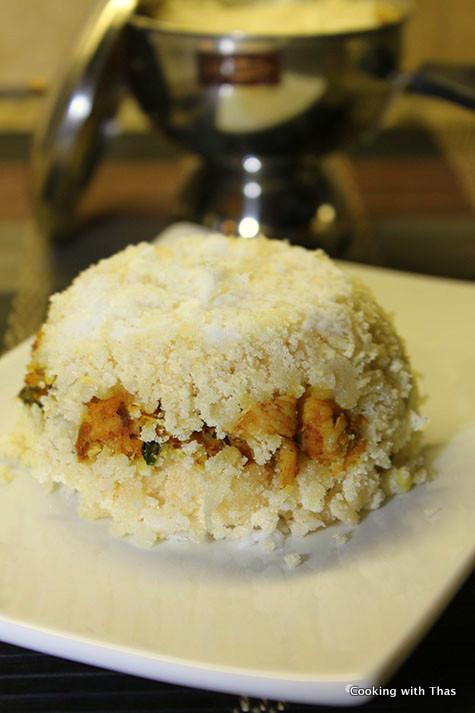 chicken stuffed-semolina puttu