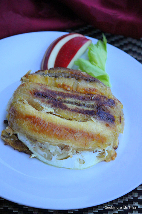plantains-stuffed with apples and coconut