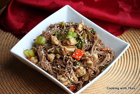 chicken-soba noodle stir fry