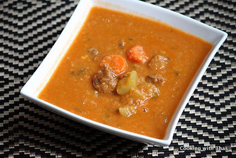 beef red lentil soup