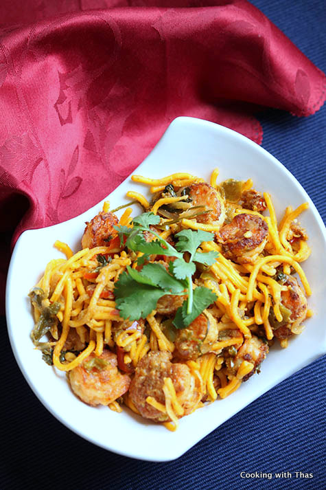 shrimp majestic with chow mein noodles