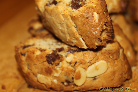 chocolate almond coconut biscotti