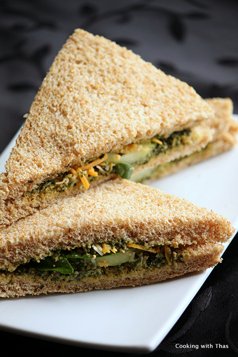 Cucumber and pesto easy sandwich