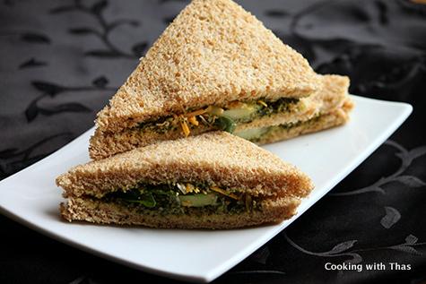 Pesto cucumber sandwich