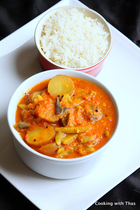 Sindhi Kadhi with potatoes and tindora