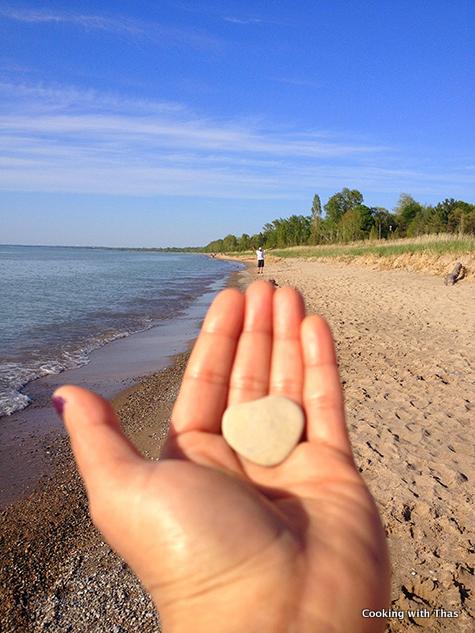 beach heart shaped stone