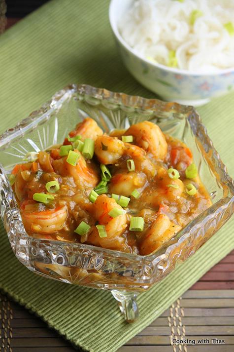 shrimp in mint cilantro sauce
