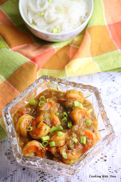 shrimp- in mint cilantro sauce