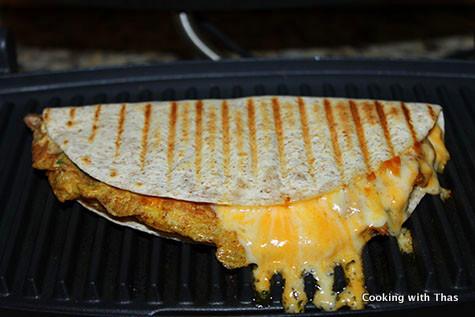 grilling omelette buritto