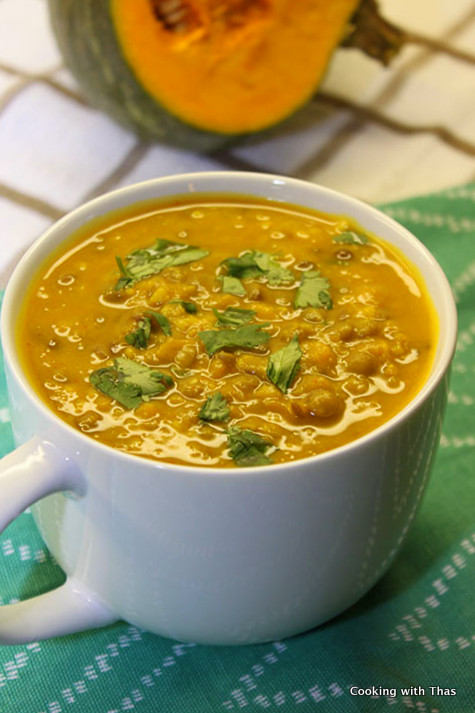 green lentil and squash soup