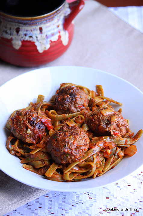 Baked beef balls and Spaghetti