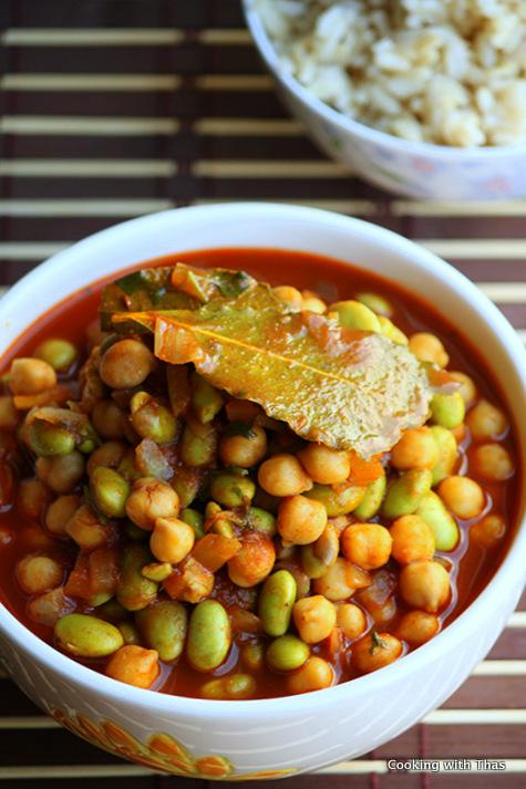 Chickpeas and edamame stew